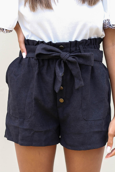 Black - Belted Paperbag Waist Shorts Detail View