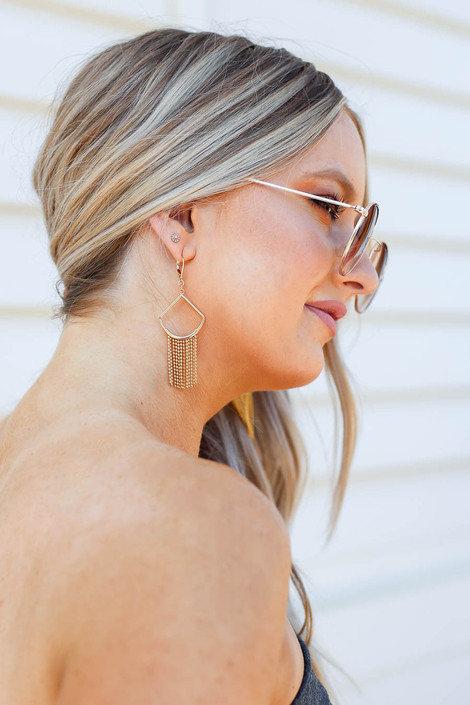 Gold - Statement Earrings on Model