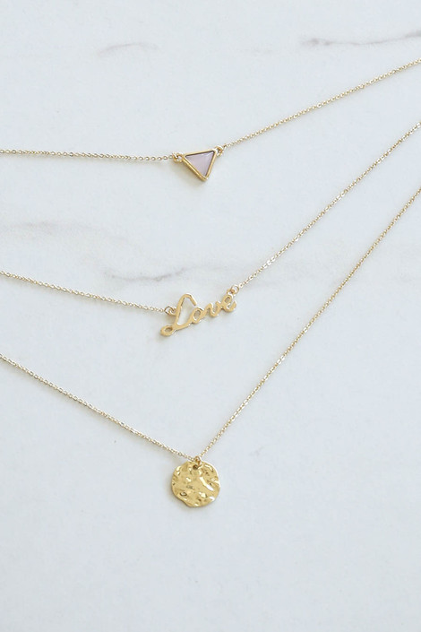 Gold - Love Layered Necklace Flat Lay