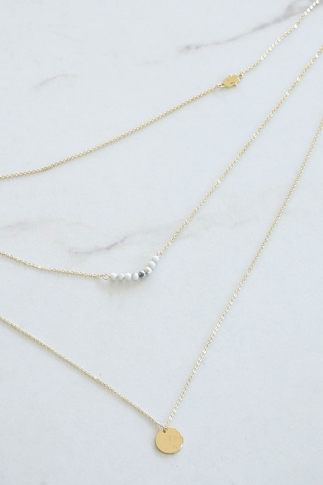 Gold - Layered Necklace Flat Lay