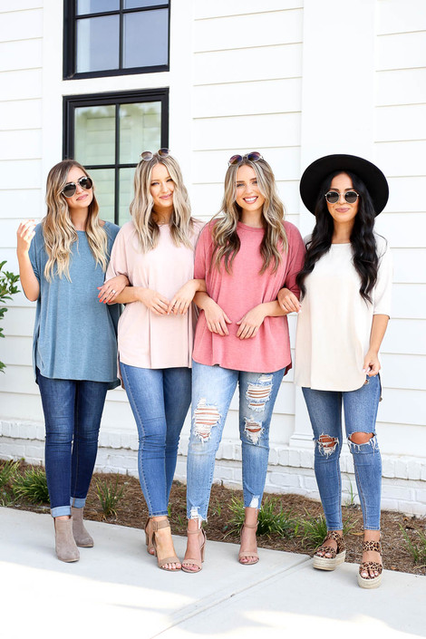 Blue - Blush, Ivory, and Rust Oversized Crew Neck Tees