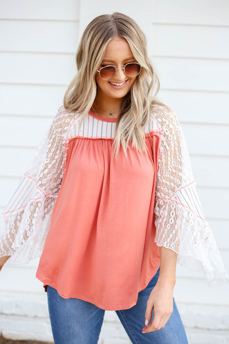 Coral - Lace Flutter Sleeve Top