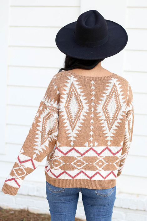Model wearing Taupe Aztec Print Sweater Back View