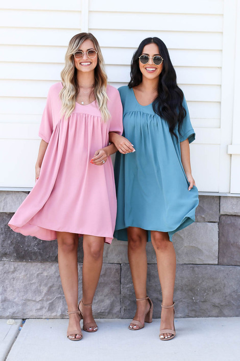 Mauve - and Teal Babydoll Dress