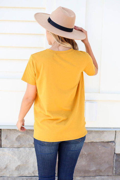 Model wearing Mustard Good Time Graphic Tee Back View