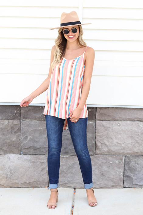 Multi - Color Striped Tank Top Full View