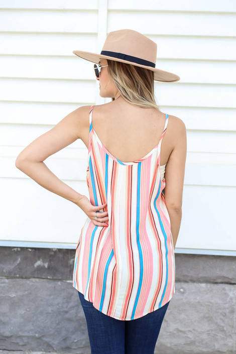 Model wearing Multi Color Striped Tank Top Back View