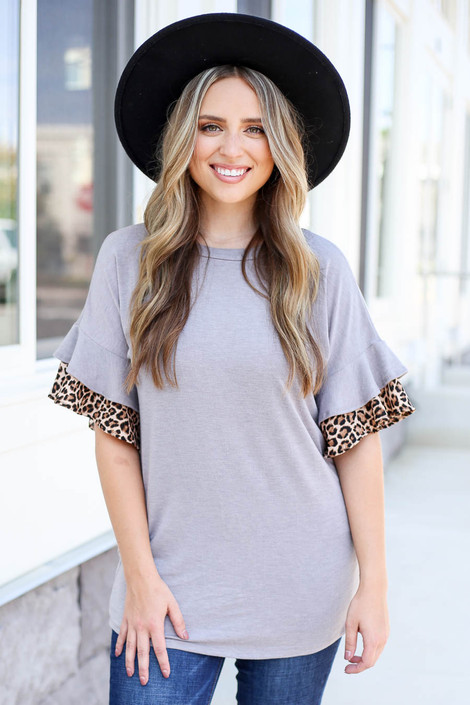 Grey - Ruffle Sleeve Top with Leopard Trim
