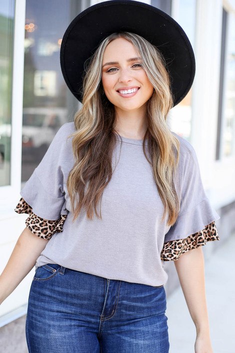 Grey - Ruffle Sleeve Top with Leopard Trim Tucked In