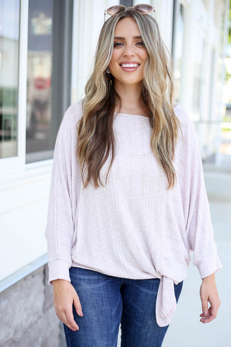 Purple - Tie-Front Ribbed Top