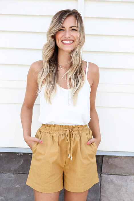 Mustard - Drawstring Waist Shorts on Model