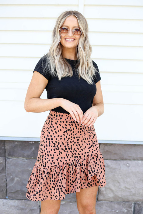 Model wearing Peach Spotted Ruffle Skirt