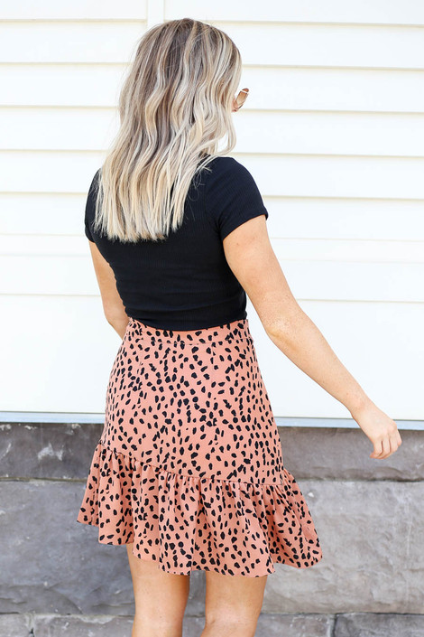 Model wearing Peach Spotted Ruffle Skirt Back View