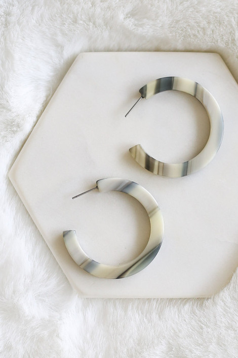 Olive - Flat Hoop Earrings Flat Lay