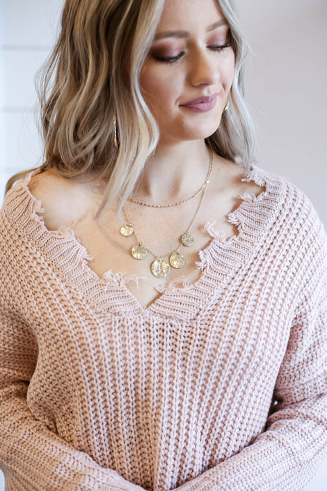 Gold - Hammered Coin Necklace on Model