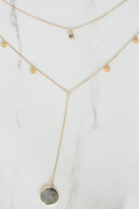 Grey - Layered Stone Necklace Flat Lay