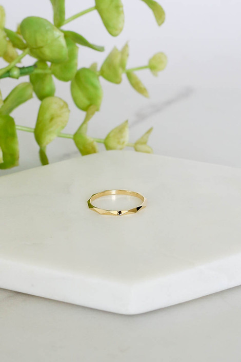 Gold Textured Ring Flat Lay