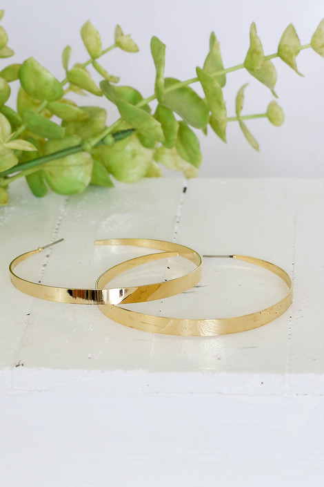 Gold - Flattened Hoop Earrings