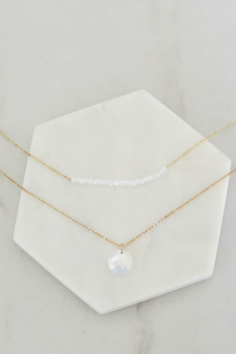 White - Beaded Layered Necklace Flat Lay