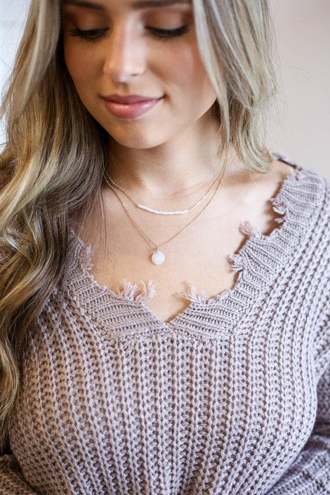 White - Beaded Layered Necklace on Model