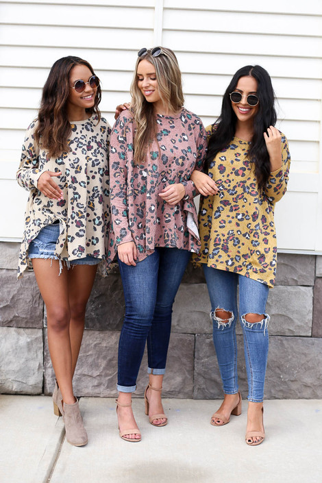 Taupe - Mustard and Taupe Oversized Leopard Print Tops