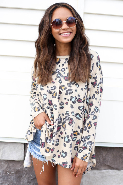 Taupe - Oversized Leopard Print Top