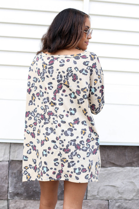Taupe - Oversized Leopard Print Top Back View