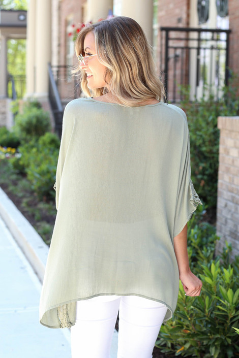 Olive - Oversized Crochet Blouse Back View