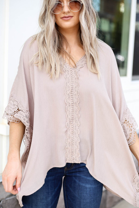 Model wearing Taupe Oversized Crochet Blouse Detail View