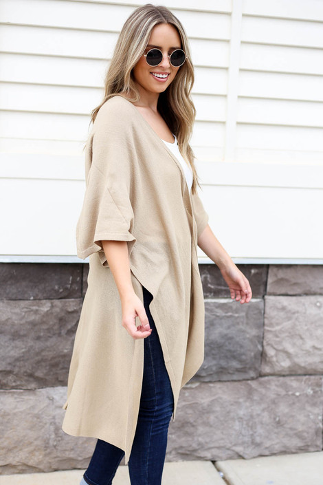 Taupe - Oversized Slit Cardigan Side View