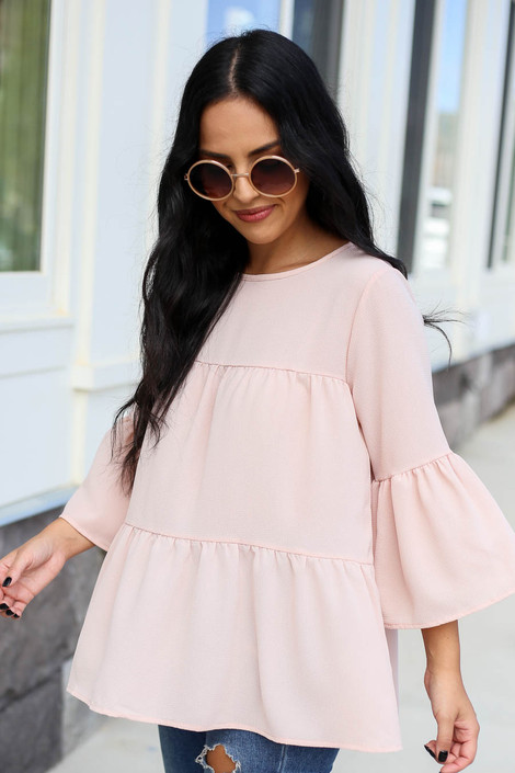 Blush - Tiered Ruffle Sleeve Top