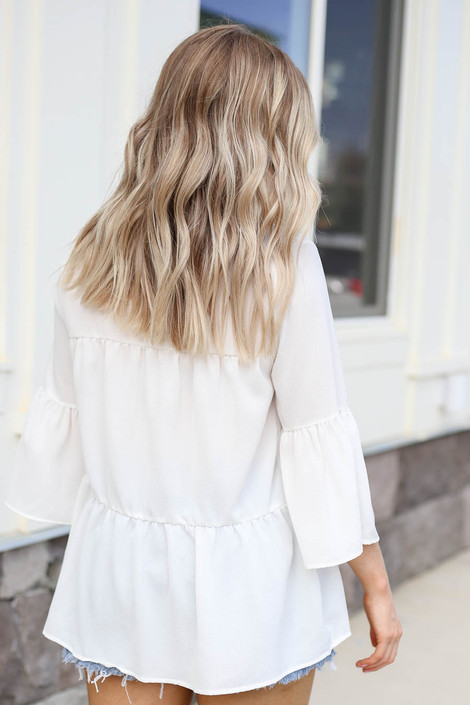 White - Tiered Ruffle Sleeve Top Back View