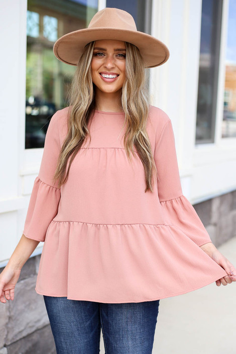 Mauve - Tiered Ruffle Sleeve Top