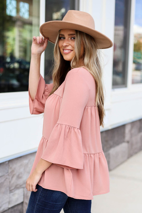 Mauve - Tiered Ruffle Sleeve Top Side View