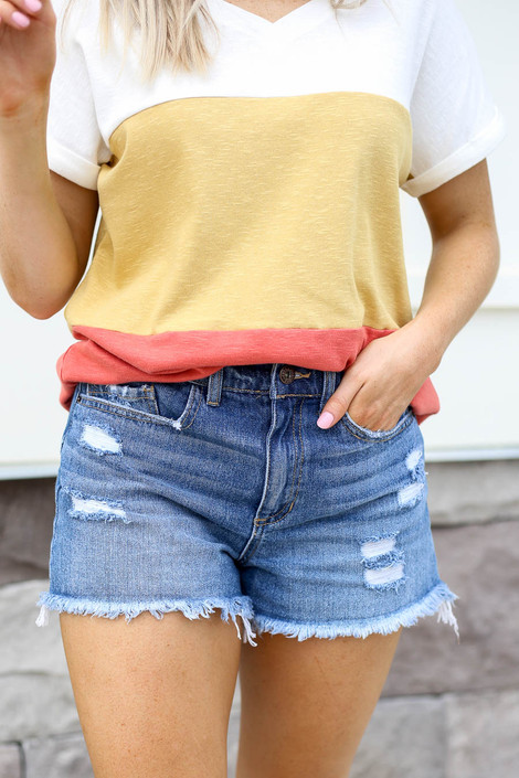 Medium Wash - Distressed Denim Shorts Detail View