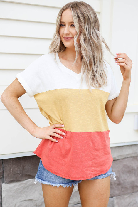 Rust - Color Block V-Neck Tee