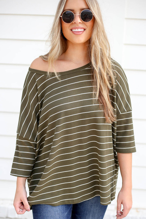 Olive - Oversized Striped Top