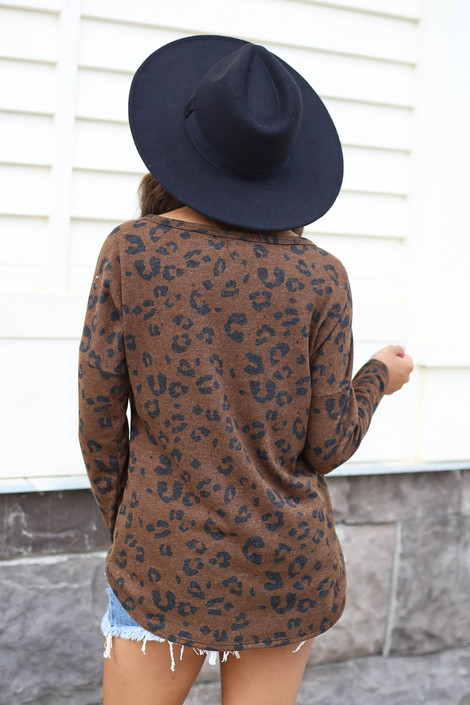 Brown - Leopard Print Tie-Front Top Back View