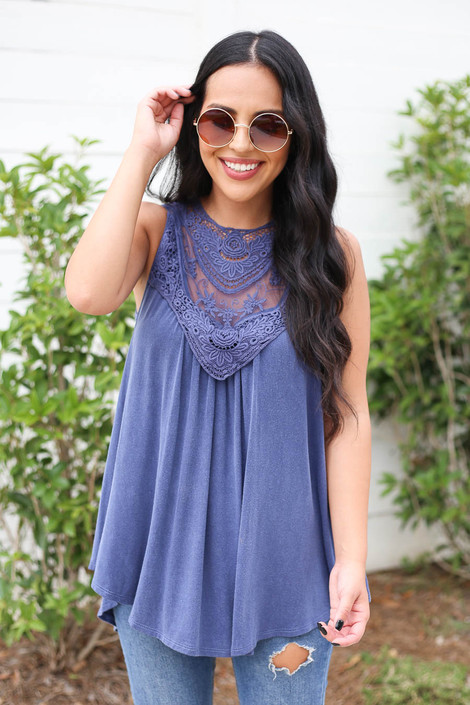 Denim - Model wearing Denim Lace Front Tank Top