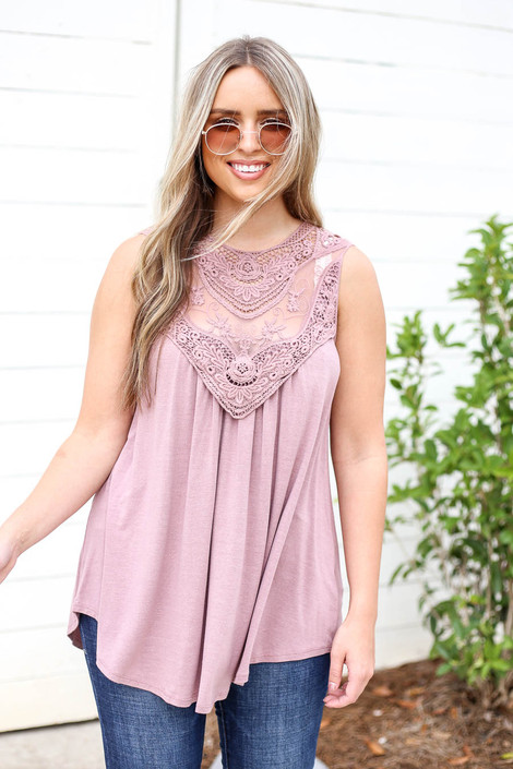 Model wearing Mauve Lace Front Tank Top