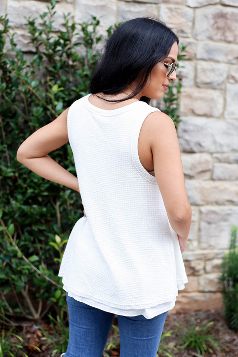 White - Waffle Knit Tank Top Back View