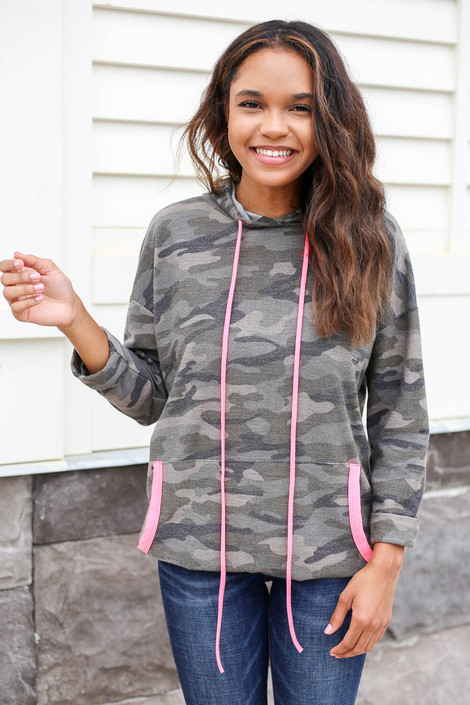 Model wearing Camo Soft Knit Hoodie with Pink Accents Front View