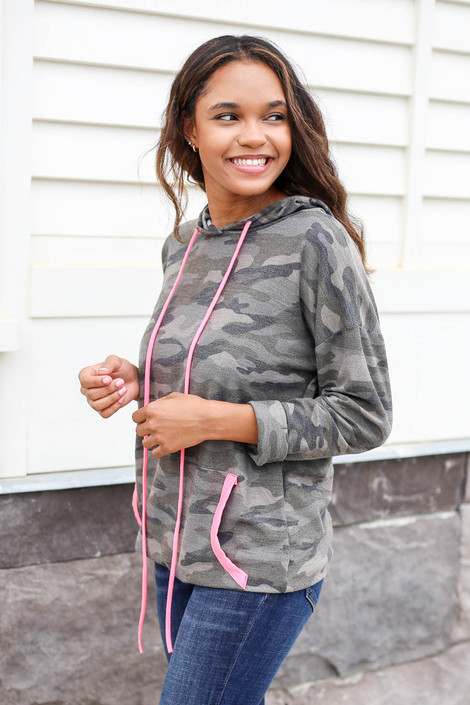 Model wearing Camo Soft Knit Hoodie with Pink Accents Side View