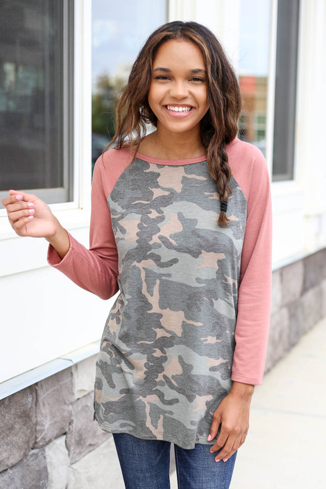 Blush - and Camo Baseball Tee