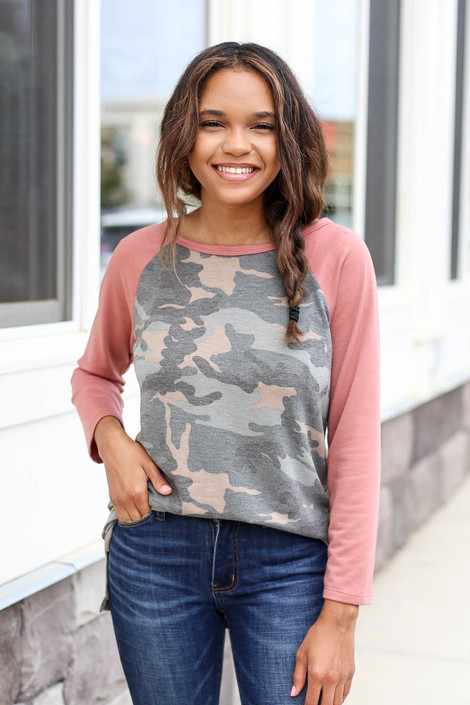 Model wearing Blush and Camo Baseball Tee Tucked In