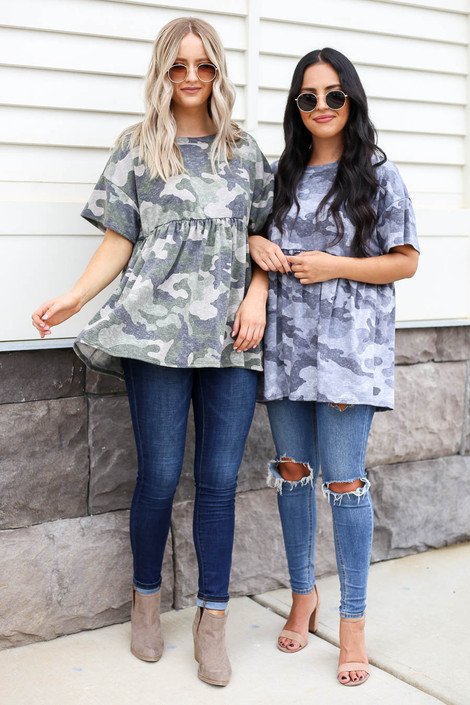Black - and Olive Camo Babydoll Tops
