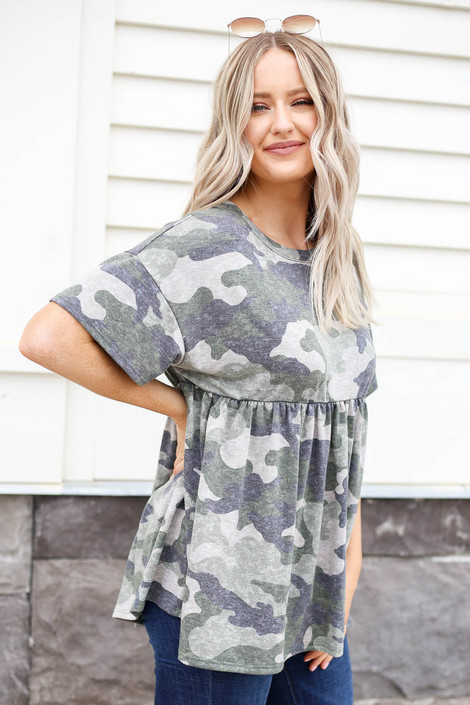 Model wearing Olive Camo Babydoll Top Side View