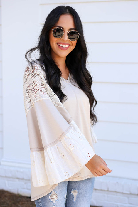 Model wearing Taupe Lace Flutter Sleeve Blouse