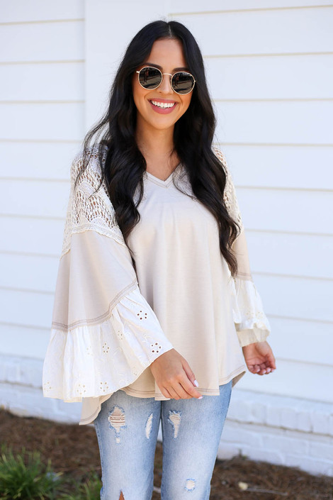 Model wearing Taupe Lace Flutter Sleeve Blouse Front View