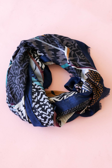 Navy - Multi-Print Lightweight Scarf